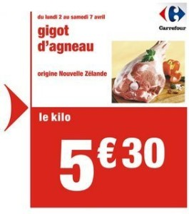 Carrefour Supermarket add offering NZ lamb for NZ$8.40/kg