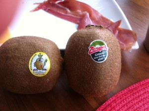"New Zealand ""Zespri"" and Italian ""KingKiwi"" from the fruit bowl."